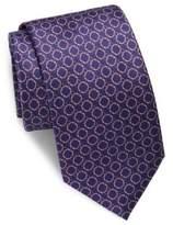 Brioni Repeating Circle Printed Silk Tie