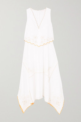 See by Chloe Asymmetric Embroidered Cotton Dress - White