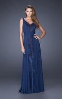 La Femme 19181 Lace Appliqued Panel Gown