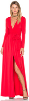 Halston V Neck Wrap Tie Gown