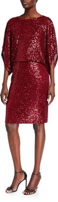 Marina Blouson Ribbed Sequin Cocktail Dress