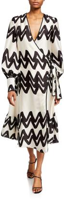 Alexis Maleko Zigzag Long-Sleeve Wrap Dress