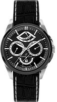 Pierre Petit Men's P-822A Le Mans Stainless Steel Day Date Power Reserve Luminous Black Anti Allergic Genuine Leather Watch
