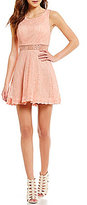Jodi Kristopher Illusion Inset Waist Lace Scalloped-Trim Fit-and-Flare Dress