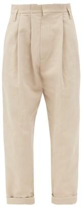 Brunello Cucinelli High-rise Cotton-blend Twill Trousers - Light Beige