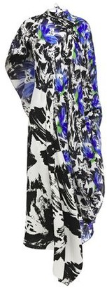 Roland Mouret Calhern Asymmetric Draped Printed Silk Crepe De Chine And Cloque Midi Dress