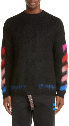 Off-White Diagonal Slim Fit Mohair Blend Sweater