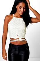 Boohoo Lucy Lace Strappy Crop Top