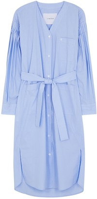 pushBUTTON Blue Pinstriped Cotton Shirt Dress