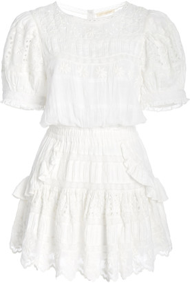 LoveShackFancy Augustine Broderie Anglaise Cotton-Voile Mini Dress