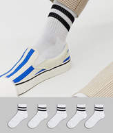 Asos Design ASOS DESIGN short sport sock in white 5 pack