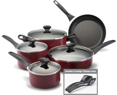 Farberware 12-pc. Nonstick Dishwasher Safe Nonstick Cookware Set, Red