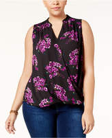 INC International Concepts I.n.c. Plus Size Printed Surplice-Neck Top, Created for Macy's