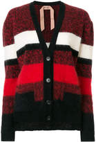 No.21 striped fluffy cardigan