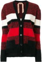 No.21 striped fluffy cardigan