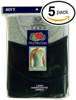 Fruit of the Loom Men's 5Pack A Shirts Tank Tops Undershirts 3XL