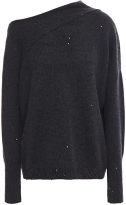 Brunello Cucinelli One-shoulder Sequined Cashmere And Silk-blend Sweater