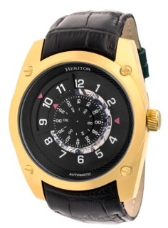 Heritor Automatic Daniels Gold & Black Leather Watches 43mm