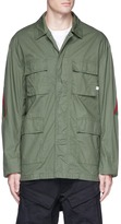 Facetasm Stripe rib knit panel shirt jacket
