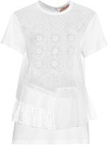 No.21 NO. 21 Embroidered silk-organza ruffle-trimmed top