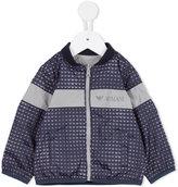 Armani Junior zip-up logo print jacket