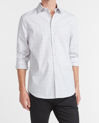 Express Slim Plaid Cotton Stretch 1Mx Dress Shirt