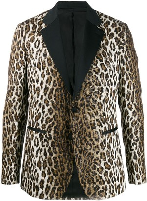 Versace Jacquard Leopard Print Blazer
