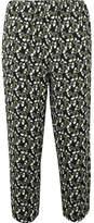Marni Cropped Floral-print Crepe Slim-leg Pants - Green