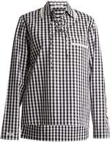 BLOUSE Piggy lace-up neck cotton-gingham shirt