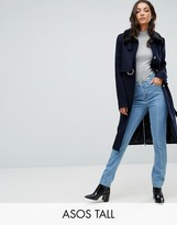 ASOS Tall ASOS TALL Coat with Faux Fur Collar and Belt In Wool Mix