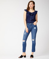 Dollhouse Women's Denim Pants and Jeans Canary - Medium Wash Distressed Cropped Jeans - Juniors