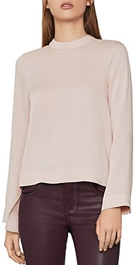 BCBGMAXAZRIA Split-Back Mock Neck Top