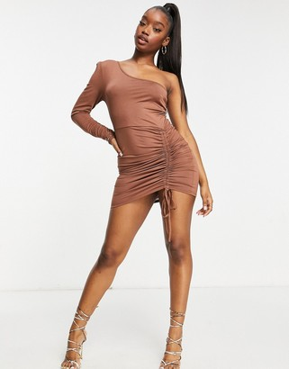 Aria Cove one long sleeve ruched side detail mini dress in chocolate