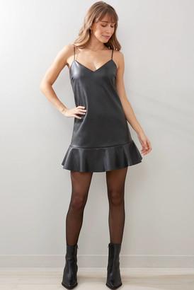 Olivaceous Ruffle Hem Faux Leather Mini Dress Black M