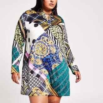 River Island Womens Plus Black baroque print shirt dress