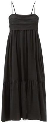 Loup Charmant Iliana Tie-back Organic-cotton Midi Dress - Black