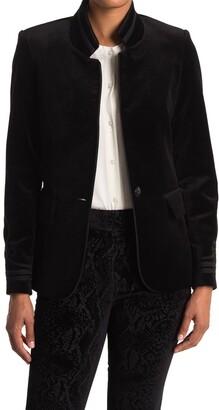 Frame Band Collar Velvet Jacket