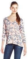 Calvin Klein Jeans Women's Printed 3/4 Slv Slub T-Shirt