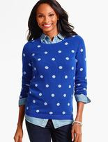 Talbots Cashmere Crewneck Sweater-Intarsia Dots