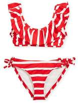 Milly Minis Striped Ruffle Pinafore Two-Piece Swimsuit, Size 4-7