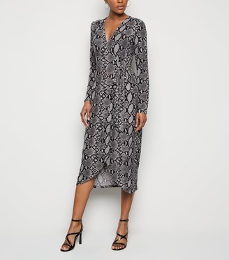 New Look Light Snake Print Soft Touch Midi Wrap Dress