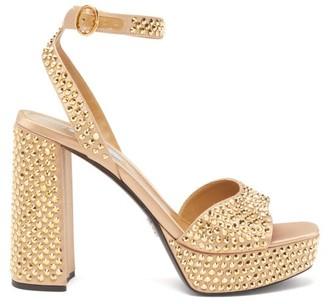 Prada Crystal-embellished Satin Platform Sandals - Gold