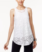 Alfani Jacquard Illusion-Hem Top, Only at Macy's