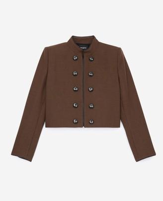The Kooples Flowing brown officer-style jacket