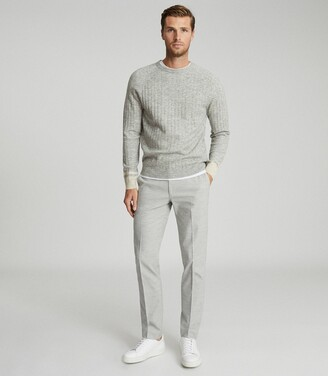 Reiss Emeril - Brushed Cotton Blend Tailored Trousers in Grey