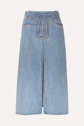 Miu Miu Lace-up Studded Denim Midi Skirt - Indigo