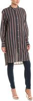 Isabel Marant Etoile Striped Collarless Shirt Dress