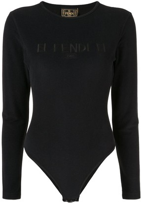 Fendi Pre-Owned Long-Sleeved Logo Bodysuit