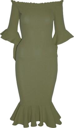 Be Jealous Womens Ladies Off The Shoulder Peplum Hem Frill Sleeve Bardot Bodycon Midi Dress Khaki