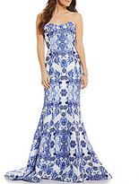 Glamour by Terani Couture Terani Couture Prom Strapless Porcelain Print Mermaid Long Dress